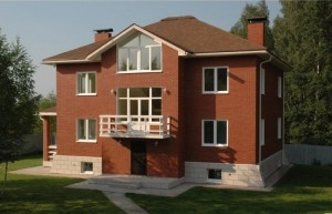 кирпичный пригородный дом