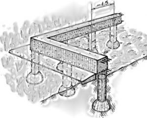 Пример ленточного основания на столбах.